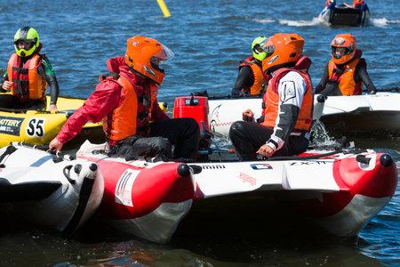 speedboats: BERLIN, GERMANY - MAY 03, 2014: Demonstration rides on speedboats. 2nd Berlin water sports festival in Gruenau