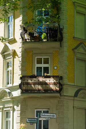 treptow: BERLIN, GERMANY - MAY 03, 2014: Detail of the facade of a house in the prestigious area of Berlin - Grunau. District Treptow-Koepenick.