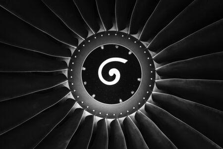 Turbofan jet engine close up  Black and white photo