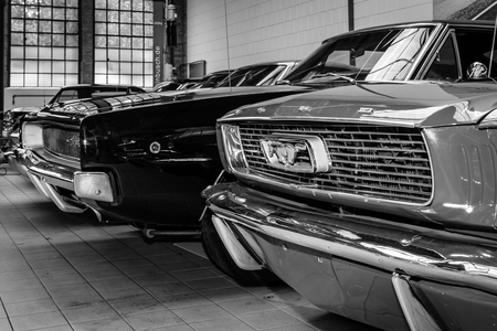 BERLIN, GERMANY - MAY 17, 2014: Ford Mustang and Dodge Charger. Black and white. 27th Oldtimer Day Berlin - Brandenburg