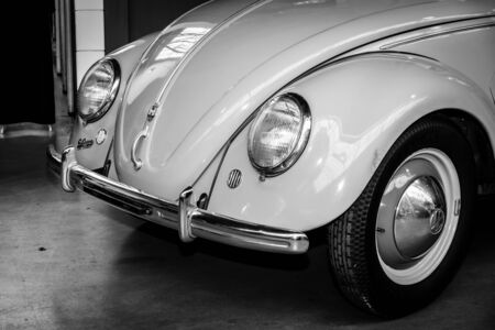 typ: BERLIN, GERMANY - MAY 17, 2014: Detail of the subcompact Volkswagen Beetle, Typ 11a, Export (Brezelkaefers). Black and white. 27th Oldtimer Day Berlin - Brandenburg