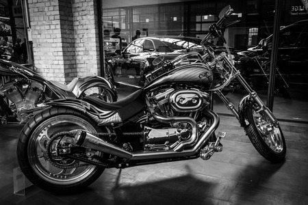 BERLIN, GERMANY - MAY 17, 2014: Motocycle Harley-Davidson Custom Bike, closeup. Black and white. 27th Oldtimer Day Berlin - Brandenburg