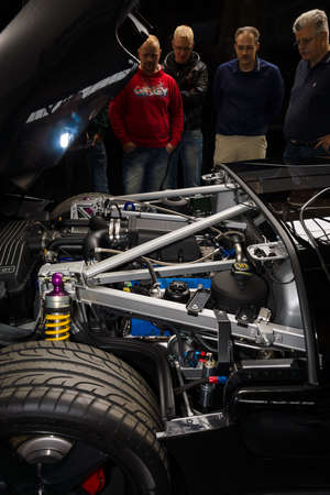 BERLIN, GERMANY - MAY 17, 2014: Engine compartment of a modern sports car Ford GT. 27th Oldtimer Day Berlin - Brandenburg  Editorial