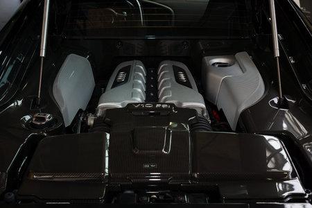 BERLIN, GERMANY - MAY 17, 2014: Engine V10 F21 modern sports car Audi R8. 27th Oldtimer Day Berlin - Brandenburg