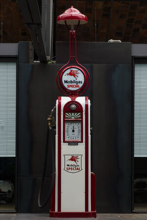 artdeco: BERLIN, GERMANY - MAY 17, 2014: Fuel dispenser Wayne Model 60 (1935). 27th Oldtimer Day Berlin - Brandenburg