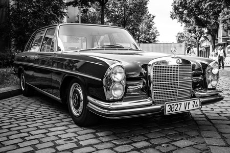BERLIN, GERMANY - MAY 17, 2014: The luxury car Mercedes-Benz 300SEL (W108W109). Black and white. 27th Oldtimer Day Berlin - Brandenburg Editorial