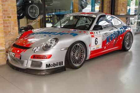 gt3: BERLIN, GERMANY - MAY 17, 2014: Sports car Porsche 996 GT3 RSR. Carrera Cup Germany. 27th Oldtimer Day Berlin - Brandenburg