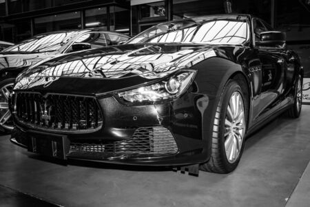 BERLIN, GERMANY - MAY 17, 2014: Executive car Maserati Ghibli (M157). Black and white. 27th Oldtimer Day Berlin - Brandenburg
