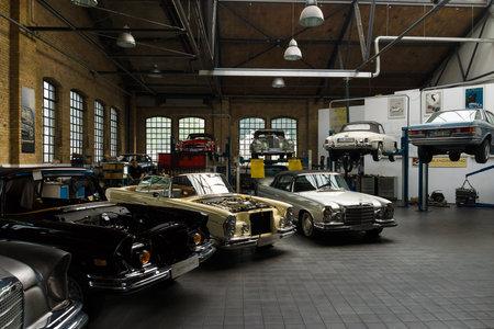 BERLIN, GERMANY - MAY 17, 2014: Restoration workshop Mercedes-Benz. 27th Oldtimer Day Berlin - Brandenburg  Editorial