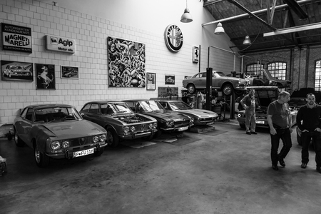 BERLIN, GERMANY - MAY 17, 2014: Restoration workshop of Italian cars. Black and white. 27th Oldtimer Day Berlin - Brandenburg