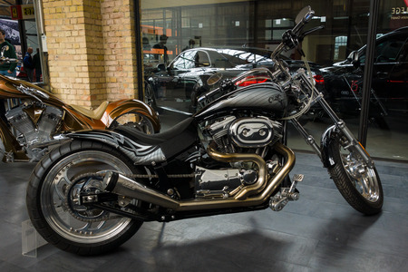 BERLIN, GERMANY - MAY 17, 2014: Motocycle Harley-Davidson Custom Bike. 27th Oldtimer Day Berlin - Brandenburg