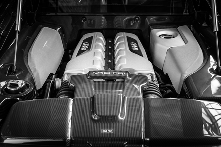 BERLIN, GERMANY - MAY 17, 2014: Engine V10 F21 modern sports car Audi R8. Black and white. 27th Oldtimer Day Berlin - Brandenburg