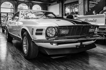 mach 1: BERLIN, GERMANY - MAY 17, 2014: Ford Mustang Mach 1, 428 cu in (7.0 L) Ramair Cobra Jet - is an performance-oriented option package of the Ford Mustang. Black and white. 27th Oldtimer Day Berlin - Brandenburg  Editorial