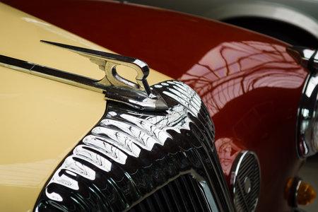 daimler: BERLIN, GERMANY - MAY 17, 2014: Hood ornament of the luxury car Daimler Majestic Major V8 (1965). 27th Oldtimer Day Berlin - Brandenburg