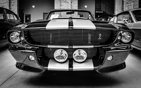 ford: BERLIN, GERMANY - MAY 17, 2014: Shelby Mustang GT500 Cabrio Eleanore (1967) - is a high-performance version of the Ford Mustang. Black and white. 27th Oldtimer Day Berlin - Brandenburg