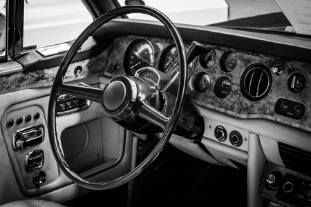 BERLIN, GERMANY - MAY 17, 2014: Interior of the drivers seat of the car Rolls-Royce Corniche I Cabriolet. Black and white. 27th Oldtimer Day Berlin - Brandenburg