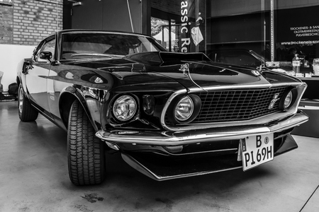 ford: BERLIN, GERMANY - MAY 17, 2014: Muscle car Ford Mustang Boss 429 Fastback (1969). Black and white. 27th Oldtimer Day Berlin - Brandenburg