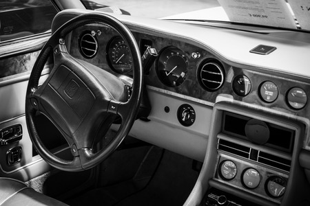 BERLIN, GERMANY - MAY 17, 2014: Interior of the drivers seat of the car Rolls-Royce Corniche IV. Black and white. 27th Oldtimer Day Berlin - Brandenburg