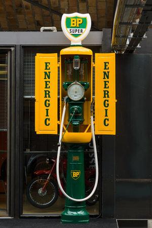 typ: BERLIN, GERMANY - MAY 17, 2014: Fuel dispenser SIAM, France, nickname Iron maiden (1935). 27th Oldtimer Day Berlin - Brandenburg