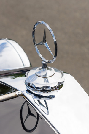 BERLIN, GERMANY - MAY 17, 2014: Hood ornament of the luxury car Mercedes-Benz Typ 290 (W18), 1933. Close up. 27th Oldtimer Day Berlin - Brandenburg