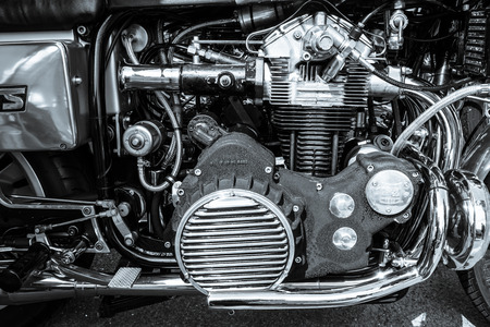 munch: BERLIN, GERMANY - MAY 17, 2014: Engine of the motorcycle Munch Mammoth 1200 TTS. Black and white. 27th Oldtimer Day Berlin - Brandenburg