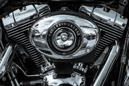 BERLIN, GERMANY - MAY 17, 2014: Twin Cam 103 engine closeup of motorcycle Harley Davidson Softail. Black and white. 27th Oldtimer Day Berlin - Brandenburg