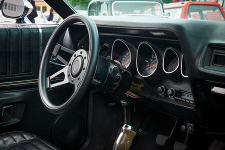 third wheel: BERLIN, GERMANY - MAY 17, 2014: Cab of the mid-size car Plymouth Satellite (Third Generation). 27th Oldtimer Day Berlin - Brandenburg