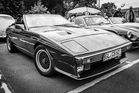 twoseater: BERLIN, GERMANY - MAY 17, 2014: A two-seater convertible sports car TVR 350i. Black and white. 27th Oldtimer Day Berlin - Brandenburg  Editorial