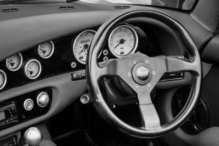 BERLIN, GERMANY - MAY 17, 2014: Cab of a two-seater convertible sports car TVR Chimaera 450. Black and white. 27th Oldtimer Day Berlin - Brandenburg  Editorial