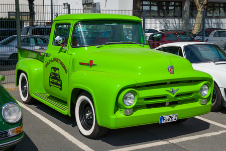 rarity: BERLIN, GERMANY - MAY 17, 2014: Full-size pickup truck Ford F-100 (second generation). 27th Oldtimer Day Berlin - Brandenburg