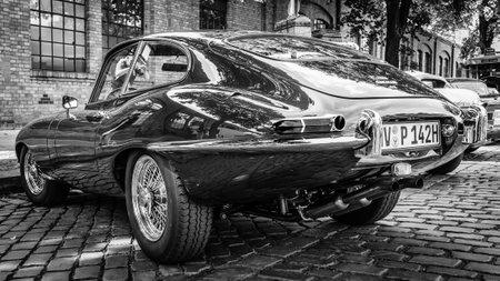 BERLIN, GERMANY - MAY 17, 2014: Sports car Jaguar E-Type 4.2. Rear view. Black and white. 27th Oldtimer Day Berlin - Brandenburg