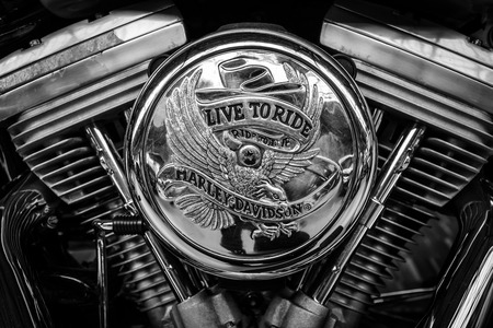 BERLIN, GERMANY - MAY 17, 2014: Detail of motorcycle Harley-Davidson. Black and white. 27th Oldtimer Day Berlin - Brandenburg