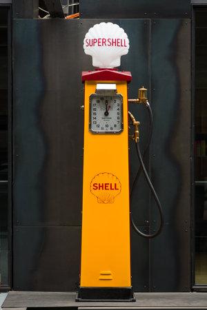 BERLIN, GERMANY - MAY 17, 2014: Fuel dispenser Beckmeter (1930). 27th Oldtimer Day Berlin - Brandenburg