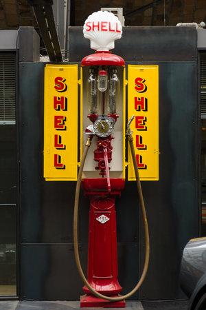 BERLIN, GERMANY - MAY 17, 2014: Fuel dispenser SATAM Typ MO2, France-Germany, nickname Iron maiden (1932). 27th Oldtimer Day Berlin - Brandenburg