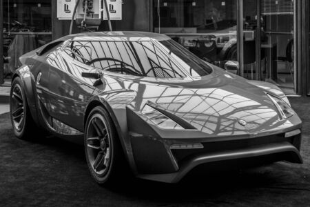BERLIN, GERMANY - MAY 17, 2014: Concept car New Stratos by Fenomenon (2005). Black and white. 27th Oldtimer Day Berlin - Brandenburg