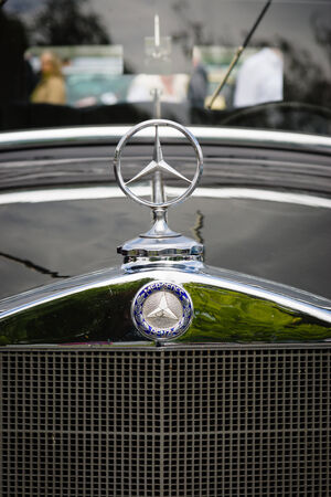 typ: BERLIN, GERMANY - MAY 17, 2014: Hood ornament of the luxury car Mercedes-Benz Typ 290 (W18), 1933. Close up. 27th Oldtimer Day Berlin - Brandenburg  Editorial