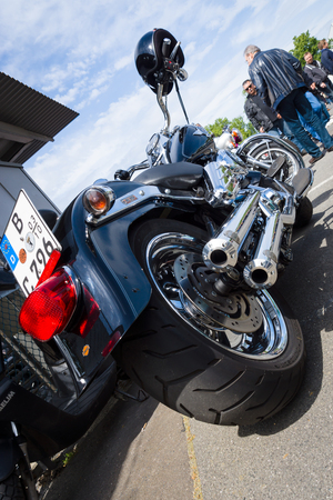 tailpipe: BERLIN, GERMANY - MAY 17, 2014: Motorcycle Harley Davidson Softail. Rear view. 27th Oldtimer Day Berlin - Brandenburg  Editorial