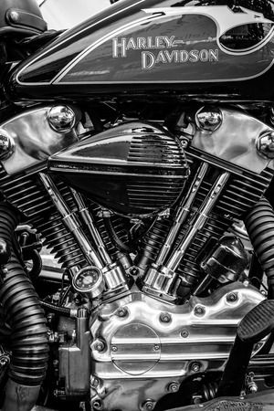 BERLIN, GERMANY - MAY 17, 2014: Twin Cam engine of the motorcycle Harley-Davidson. Black and white. 27th Oldtimer Day Berlin - Brandenburg  Editoriali