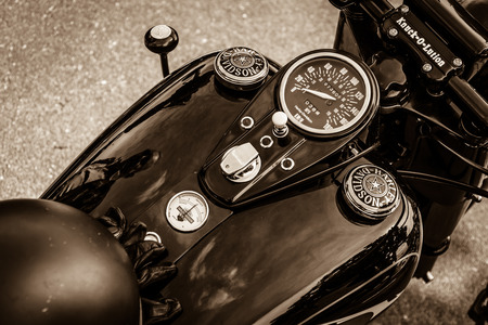 davidson: BERLIN, GERMANY - MAY 17, 2014: The dashboard and fuel tank of the motorcycle Harley-Davidson. Sepia. 27th Oldtimer Day Berlin - Brandenburg