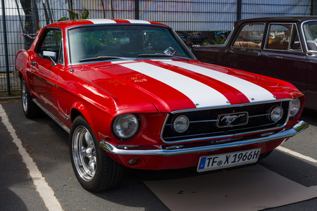 mustang gt: BERLIN, GERMANY - MAY 17, 2014: Pony car Ford Mustang GT (first generation). 27th Oldtimer Day Berlin - Brandenburg