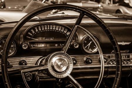 thunderbird: BERLIN, GERMANY - MAY 17, 2014: Cabin of the personal luxury car Ford Thunderbird (first generation). Sepia. 27th Oldtimer Day Berlin - Brandenburg