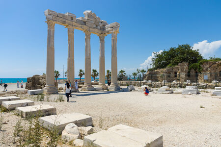 founded: SIDE, TURKEY - JUNE 21, 2014: The ruins of the temple of Apollo. Side - Greek and later Roman city on the Anatolian coast. Founded in the 7th century BC.