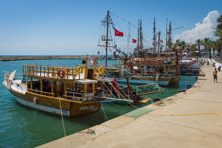 SIDE, TURKEY - JUNE 21, 2014: Seaport. Side - Greek and later Roman city on the Anatolian coast. Founded in the 7th century BC.