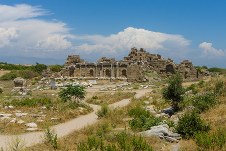 founded:  Ruins of ancient Greek, later the Roman town of Side. Founded in the 7th century BC. Mediterranean, Anatolian coast.