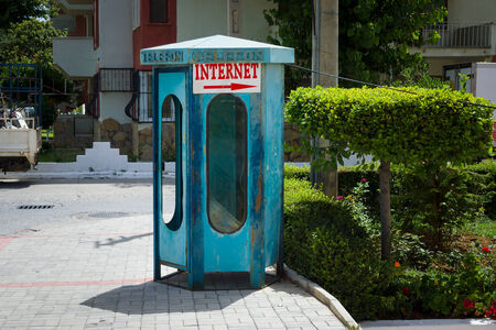 payphone: City payphone and a pointer Internet.
