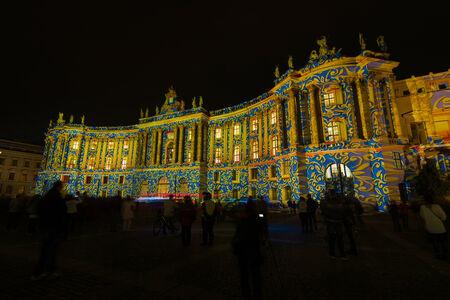 faculty: BERLIN, GERMANY - OCTOBER 10, 2014: The building of the Faculty of Law of the University of Humboldt in night illumination. The annual Festival of Lights 2014 Editorial