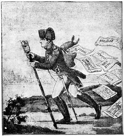 napoleon i: Caricature of Napoleon, in 1813, Le petit courrier du Rhin. Publication of the book A Century in the text and pictures, Berlin, Germany, 1899