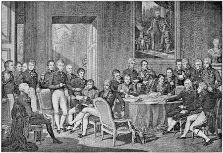Congress of Vienna in 1814 by engraving Jean Godefroy on drawing Jean-Baptiste Isabey. Publication of the book A Century in the text and pictures, Berlin, Germany, 1899 Editorial