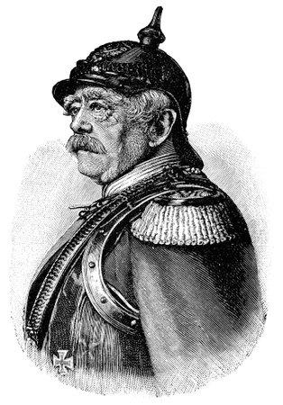 Portrait of a German statesman Otto von Bismarck. Publication of the book