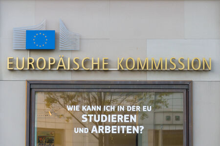 BERLIN - OCTOBER 31, 2014: The European Commission (EC) is the executive body of the European Union responsible for proposing legislation Editorial